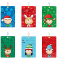 Christmas tags with funny kids vector image