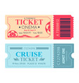 cinema ticket cruise coupon vector image vector image