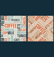 coffee pattern with words in retro style vector image vector image