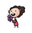 cute happy woman in red dress with flower bouquet vector image vector image