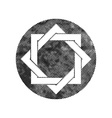 Eight point star symbol with pixel print halftone vector image