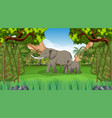 elephant mom and baby in forest scene vector image vector image