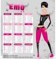 emo calendar 2009 vector image vector image