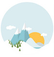 flat design winter snowy landscape vector image