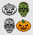 halloween objects zombie head and pumpkin vector image