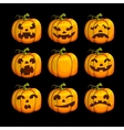 Halloween scary pumpkins set of different vector image