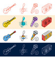 hand draw guitar note microphone icon set in vector image
