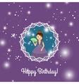 Happy Birthday card with cartoon princess vector image vector image