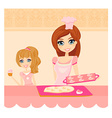 Happy mother helping her daughter cooking cakes in vector image