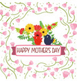 happy mothers day card flower birds - roses sparce vector image vector image