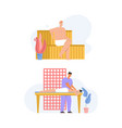 happy people relaxing at spa salon scenes set vector image