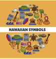 hawaiian symbols traveling tropical island hawaii vector image vector image