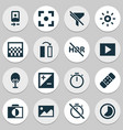 image icons set with wb iridescent hdr off vector image