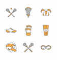 lacrosse sport game line icons ball stick vector image vector image
