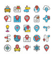 maps and navigation colored icons set 6 vector image vector image