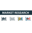 market research icon set four elements in vector image vector image