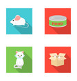 mouse food in the bank sick cat cat in the box vector image vector image