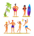 people and summer activities vector image vector image