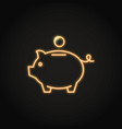 piggy bank icon in neon line style vector image
