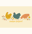 postcard with chickens and flowers happy easter vector image