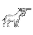 revolver gun as dog head sketch engraving vector image vector image