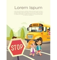 School bus stop Back To School Safety Concept vector image