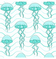 seamless pattern with jellyfish and waves vector image vector image