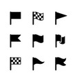 set glyph icons flag vector image