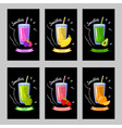 set of cards with different smoothies on a black vector image vector image