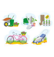 set of colorful gardening picture vector image vector image