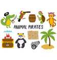 set of isolated animals pirates and other elements vector image