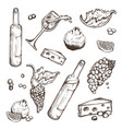 set of sketches beverage and food on a vector image