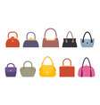 set of women bags stylish accessory females vector image