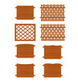 Set of wooden fences sections of different forms vector image