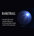 silhouette of a basketball ball dots lines vector image