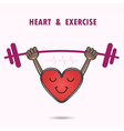 Smile heart shape with the barbell on background vector image vector image