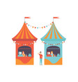 street vendor booths with fast food market food vector image vector image