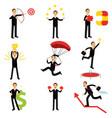 successful businessman at work metaphor set of vector image vector image