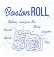 Sushi sketch Boston roll
