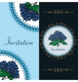 Two invitation card with spring blue hydrangea vector image