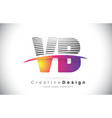 vb v b letter logo design with creative lines and vector image vector image