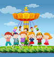 park scene with happy children vector image