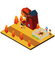 3d design for animals and farmers in the farm vector image vector image