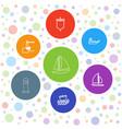 7 sailing icons vector image vector image