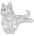 adult coloring bookpage a cute cat image for vector image vector image