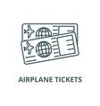airplane tickets line icon airplane vector image vector image