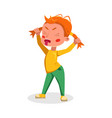 angry bully girl grimacing naughty hoodlum kid vector image vector image