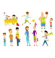 back to school cute schoolchildren at a lesson vector image vector image
