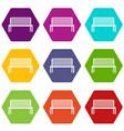 bench icon set color hexahedron vector image vector image