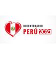 bicentenario peru 2021 poster with heart emblem vector image vector image